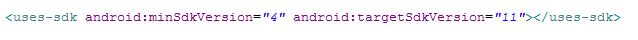 SDK line in androidManifest.xml